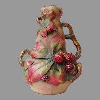 Antique AUSTRIAN AMPHORA VASE - Vines & Berries /  late 19th Century / LARGE