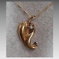 Retro PENDANT & CHAIN - 14K Gold, Sapphires, Diamond  (Leaf Pendant)