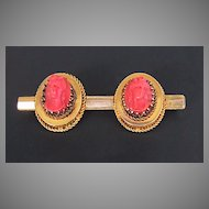 Victorian CORAL CAMEO BROOCH - 14K Gold Bar Pin / Double Cameo