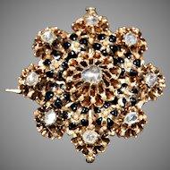 Large antique ROSE DIAMOND BROOCH - black enamel, 14K Gold - circa: 1840