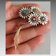 18K Gold & Enamel - JEWELED FLOWER Brooch - Vintage, Fine