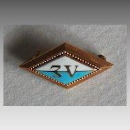 Antique FRATERNITY PIN - c1908, Gold & Enamel (Lambda Sigma)