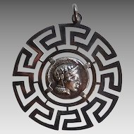 Large Round GRECIAN COIN PENDANT - Athena / Owl  (Walls of Troy Frame)