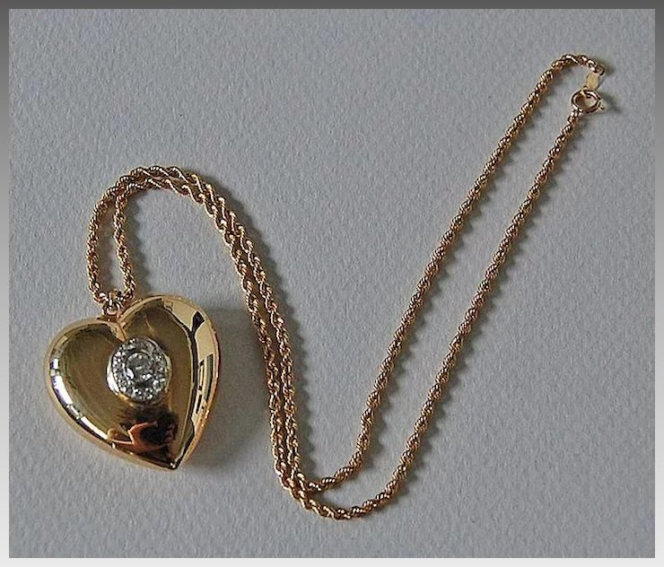 Vintage diamond heart pendant heart necklace puffy 14k gold vintage diamond heart pendant heart necklace puffy 14k gold rope chain mozeypictures Image collections