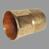 Victorian 14K GOLD THIMBLE - Ornate Alternating Panels - Size 5?