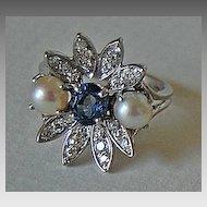 Vintage DIAMOND &  SAPPHIRE RING / Platinum & Pearl / Flower Form