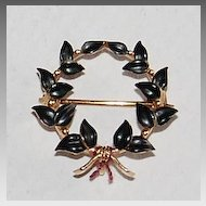 Signed Vintage ENAMEL & GOLD Wreath Brooch / Pendant
