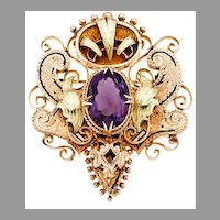 Victorian AMETHYST BROOCH - 14k GOLD, Ornate, Enamel, Large