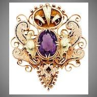 Victorian AMETHYST BROOCH - 14k GOLD, Ornate, Enamel, Large
