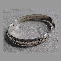 Vintage English STERLING BRACELET - Engraved Bangle Bracelet
