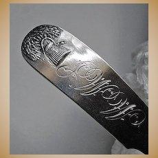 c1840, SHEAF of WHEAT - coin silver Ladle, FIDDLEBACK (A. Hartshorn)