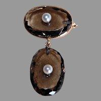 Antique CITRINE & PEARL BROOCH - Dangle Drop / 14k Gold / Large / Unusual
