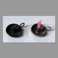 c1920 - miniature Dollhouse metal CHAMBERSTICKS  (pair)