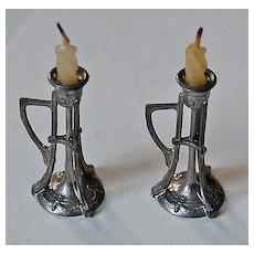 Antique Miniature ARTS & CRAFTS Candlesticks - DOLLHOUSE Furniture