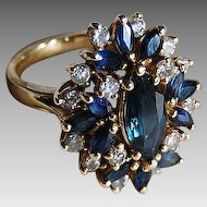 Large vintage Retro SAPPHIRE & DIAMOND RING - 14k Gold  (Festive Sapphire Cluster Ring)