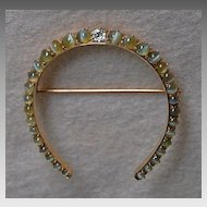 c1920, Cats Eye HORSESHOE BROOCH - Cats Eye, Diamond, 14k Gold