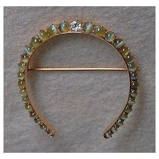 c1920, Cats Eye HORSESHOE BROOCH - Cats Eye, Diamond, 14k Gold