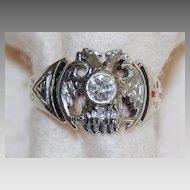 Vintage MASONIC 32nd Degree RING - Diamond (14K White Gold) - LARGE