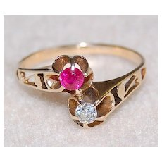 Victorian RUBY & DIAMOND ring - unusual 14K GOLD mounting / twin design