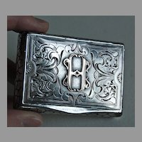 Antique Continental Silver BOX - Ornate Initial Box / Stonewall Border / 19th Century