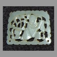 Antique WHITE JADE PENDANT - Chinese, Figure & Urn - open work