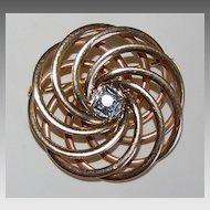 Vintage 14K Gold & Diamond SWIRL BROOCH - Heavy Weight, c1940