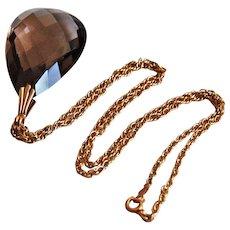 Large Vintage CITRINE PENDANT - 14k gold Chain / CITRINE Necklace, c1940