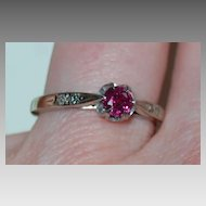 Vintage RUBY RING - 14K Gold / Diamonds / c1915 / Very pretty!