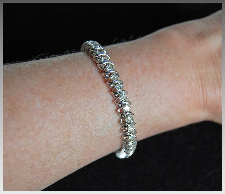 Very Fine Diamond Tennis Bracelet 14k White Gold 4 Carats