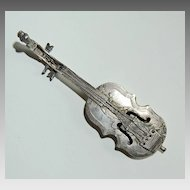 19th Century MINIATURE VIOLIN - Continental Silver (Strings / Village Scene with Horse)