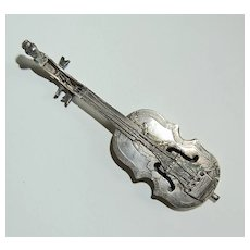 19th Century MINIATURE VIOLIN - Continental Silver (Strings / Village Scene with Horse)