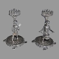 Antique STERLING PLACE CARD HOLDERS  -  (set of two) Drummer Boy & Banjo Player / Figural  Muscians