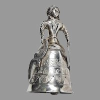19th Century Dutch SILVER FIGURAL BELL - Animal & Village Scenes / Hallmarked