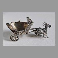 Continental Silver Miniature GOAT, CHARIOT, CHERUB - 19th Century