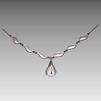 Vintage AKSEL HOLMSEN Necklace - white ENAMEL & STERLING / Norway
