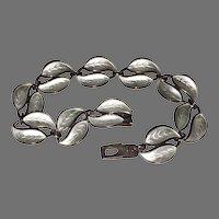 Vintage Signed DAVID ANDERSEN Bracelet - white ENAMEL & STERLING / Norway