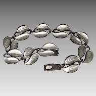 Vintage Signed DAVID ANDERSEN Bracelet - white ENAMEL & STERLING / Norway