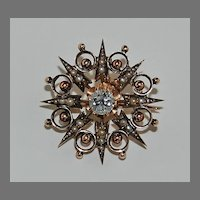 antique Victorian DIAMOND PENDANT / BROOCH - 14k gold, Sunburst, Pearls,  GIA I-VS2