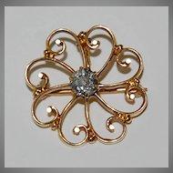 Victorian DIAMOND PENDANT / BROOCH - 14k gold, Scatter Design, European cut / color K / clarity VS2