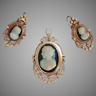 Victorian CAMEO BROOCH / PENDANT & EARRING set - black & white Hard Stone Cameos, 14K Gold Ornate wide mountings - c1870