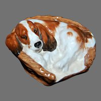 Vintage Royal Doulton - COCKER SPANIEL DOG in Basket Bed - Animal Figurine