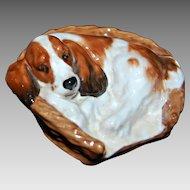 Vintage Royal Doulton - COCKER SPANIEL DOG in Basket Bed - Animal Figurine