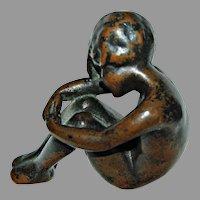 ANTIQUE BRONZE CHILD - Seated Bronze Figurine, circa:1900