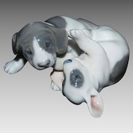 old Royal Copenhagen TWO PUPPIES AT PLAY, #453, MINT Animal Figurine