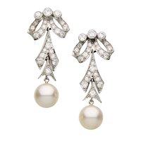 Platinum DIAMOND EARRINGS & PEARL Drops- Long, Dangly, Vintage
