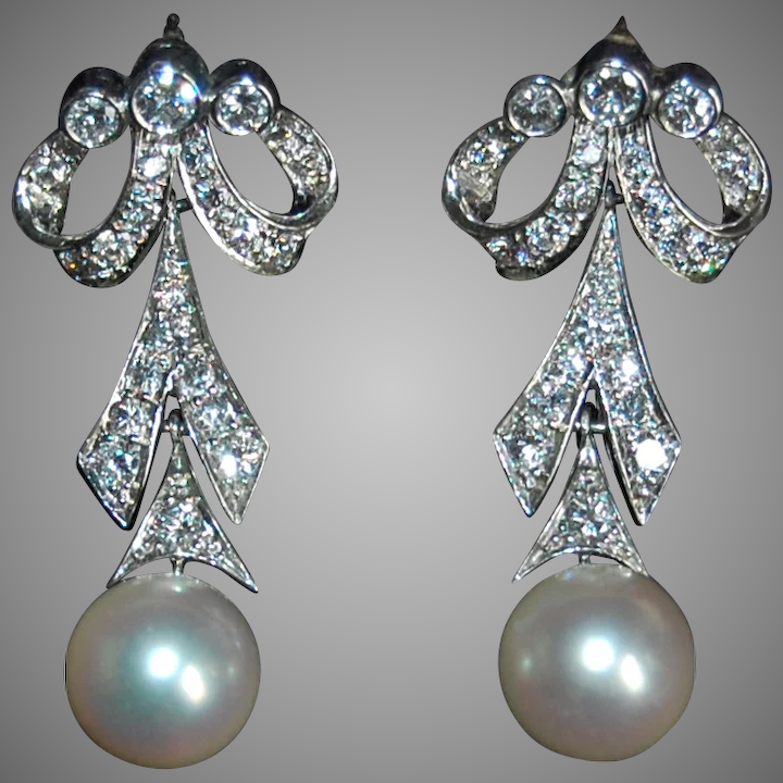 bff6ac3e4 Vintage DIAMOND EARRINGS & WHITE PEARL Drop - 14K White Gold - Long :  HWAntiques | Ruby Lane