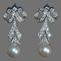 Vintage DIAMOND EARRINGS & WHITE PEARL Drop - 14K White Gold - Long Dangly Diamond Earrings