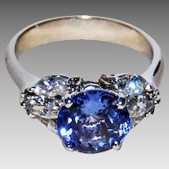 TANZANITE & DIAMOND RIng - 14k white gold mounting / Dazzling Blue Tanzanite