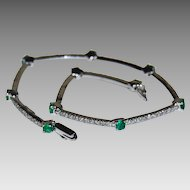 Signed EMERALD & DIAMOND Bracelet - 14k White Gold, Vintage (Tennis Bracelet)