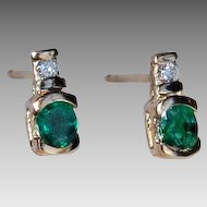 vintage EMERALD & DIAMOND EARRINGS - 14k pierced posts / vivid green